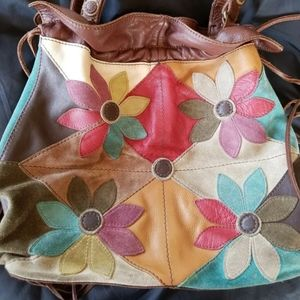 Vintage Lucky Leather Floral  Patchwork Purse